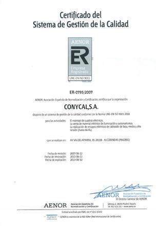 Certificado de calidad AENOR ER 0795.2007.