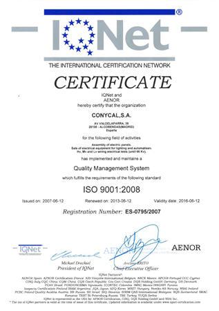 CONYCAL - ISO 9001:2008 por IQNet