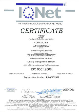 Certificado de calidad IQNET ISO 9001.2008.