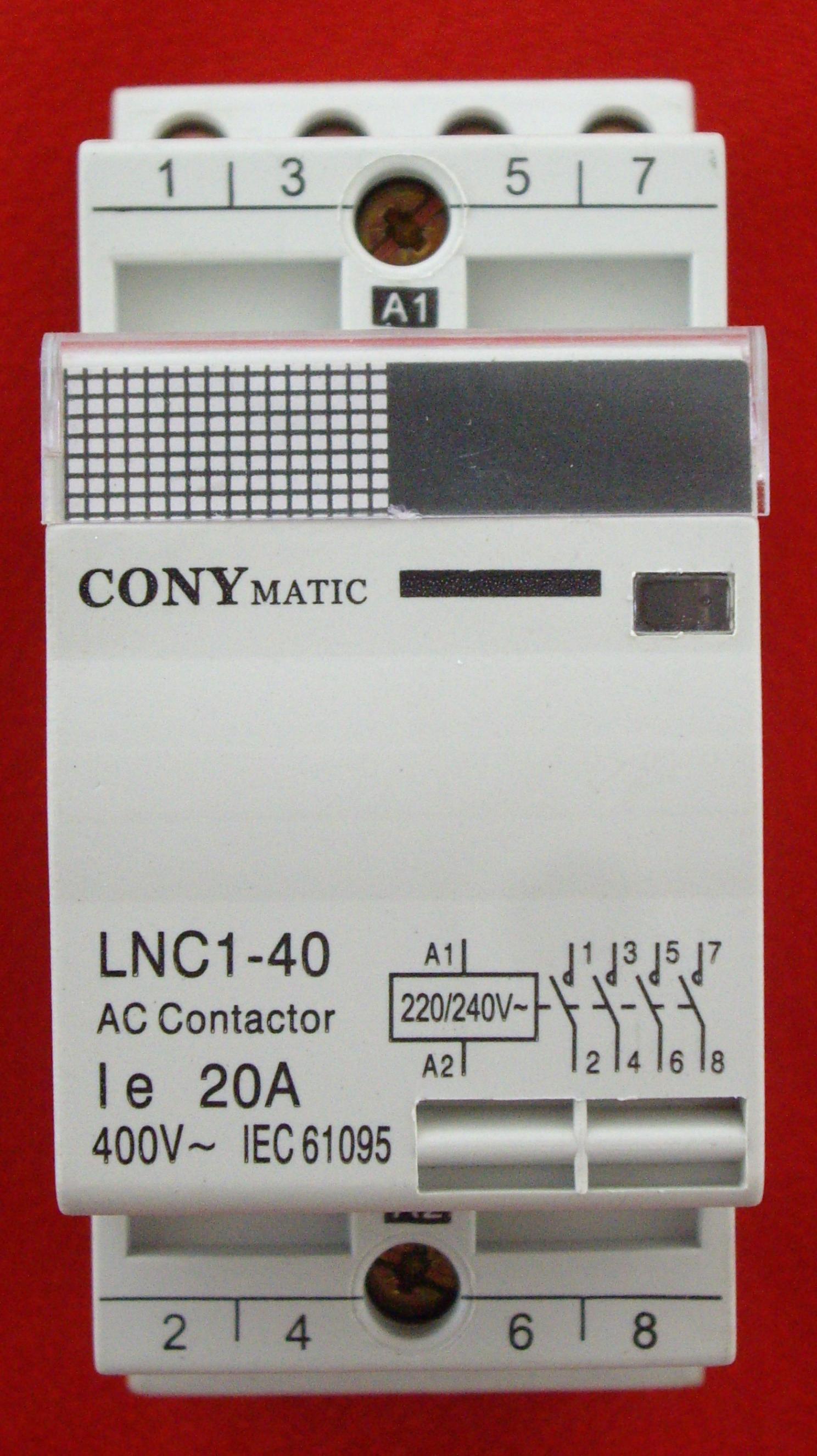 Contactor via-din de 4 Polos y 20 Amperios (CM420).