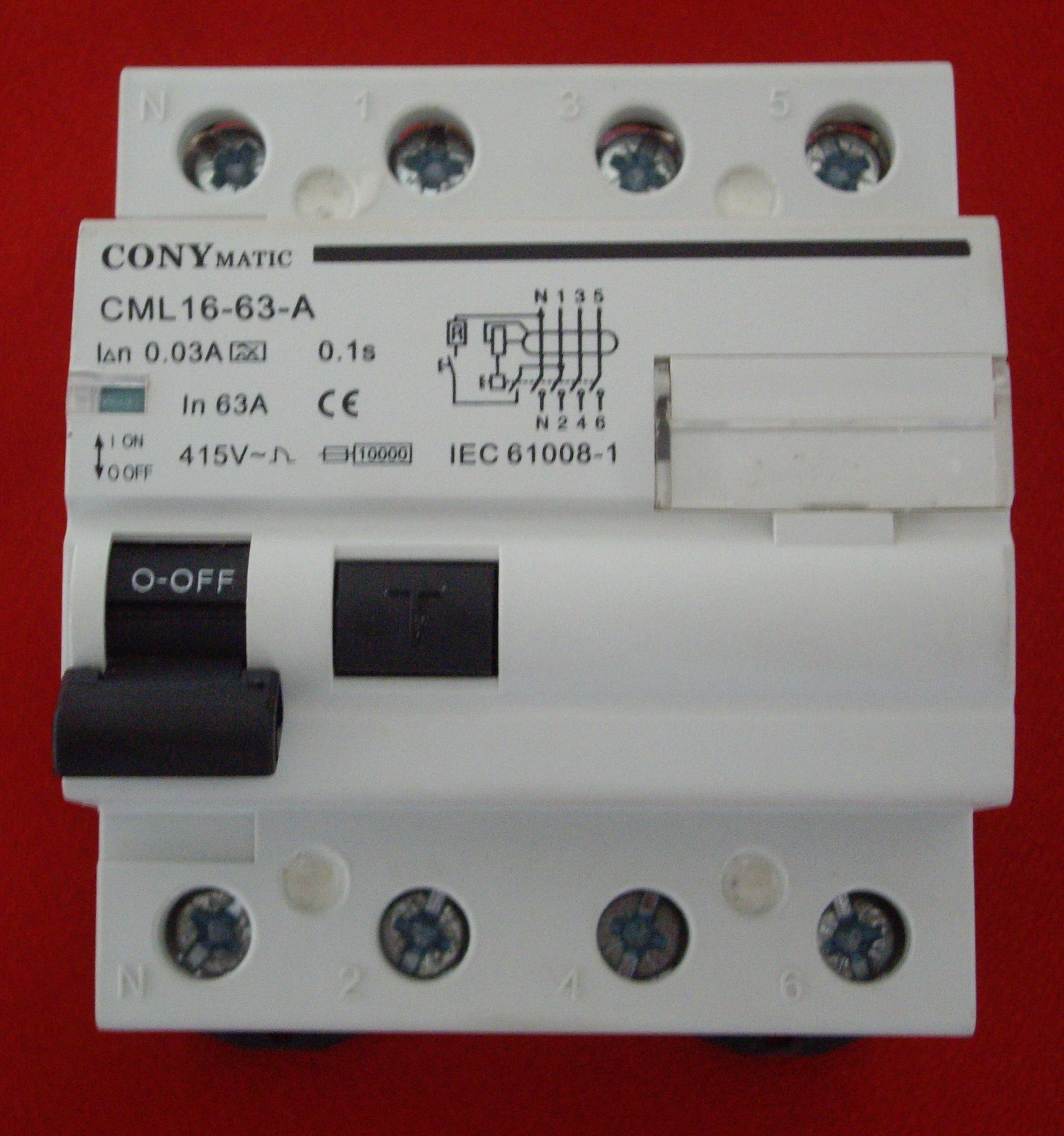Diferencial S.I.(Super Inmunizado) via-din de 4 Polos, 63 A y 30 mA (D46330A).