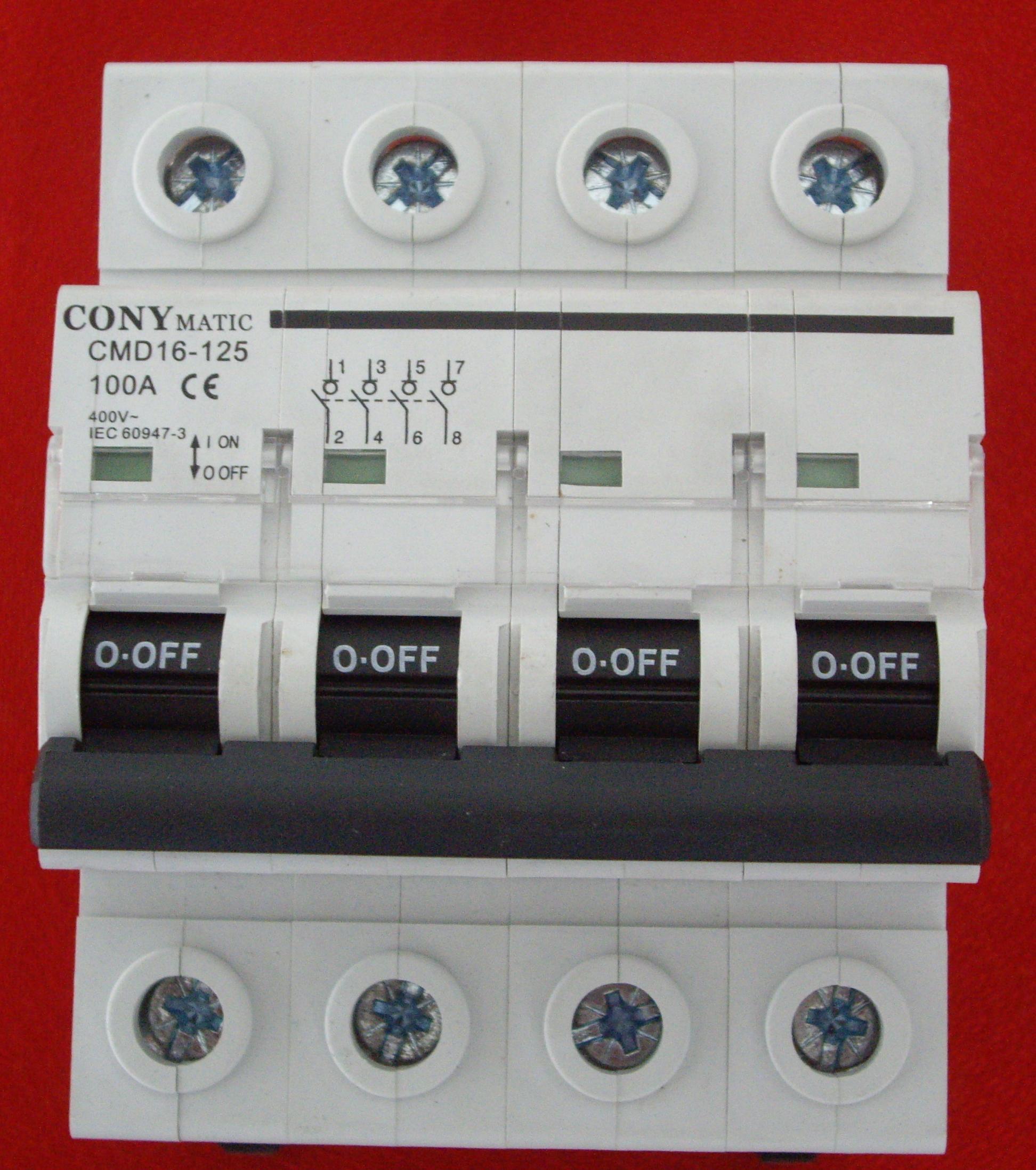 Interruptor de corte en carga via-din de 4 Polos y 100 Amperios (INA4100).